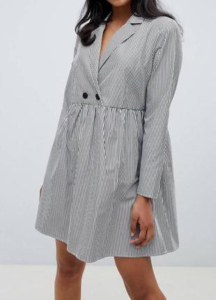 Хлопковое свободное платье  с длинными рукавами в полоску asos design