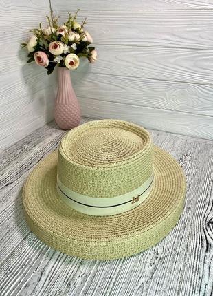 Солнцезащитная соломенная шляпа женская абажур кремовая