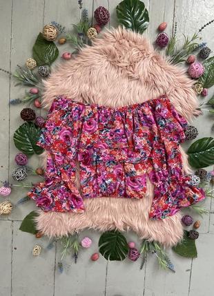Актуальная шифоновая блуза с рюшами в стиле бохо #139