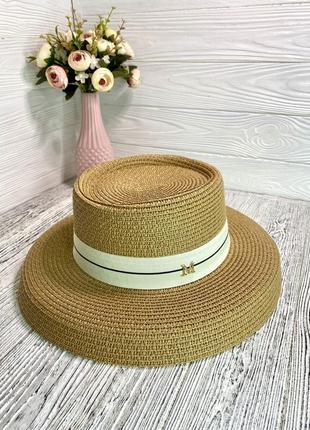 Солнцезащитная соломенная шляпа женская абажур бежевая