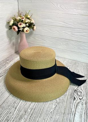 Солнцезащитная соломенная шляпа абажур бежевая с чёрной лентой