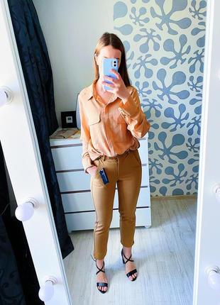 Стильная шёлковая блуза primark!  с карманами, оверсайз! коллекция весна 2021г.!