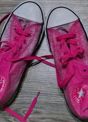 Высокие розовые кеды с блестками converse