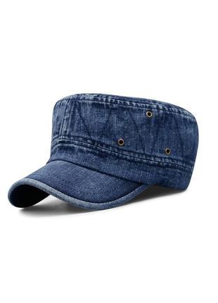 Кепка немка джинсовая темно синяя