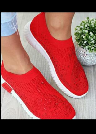 Кроссовки - носки  красные