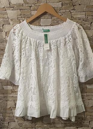 Блуза, кружево, размер м, united colors of benetton, италия