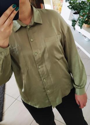 Блуза рубашка фісташкового кольору