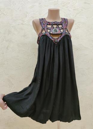 Платье с бисером сарафан с вышивкой