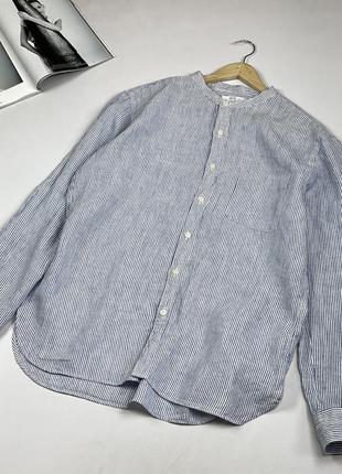 Стильная качественная натуральная льняная рубашка дорогого бренда на высокий рост