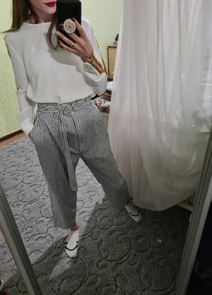 Хлопковые кюлоты, штаны высокая посадка от zara