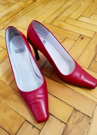 Туфли кожаные с квадратным носком
