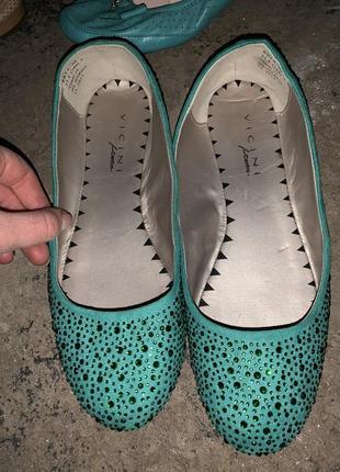 Балетки бирюзовые туфли со стразами
