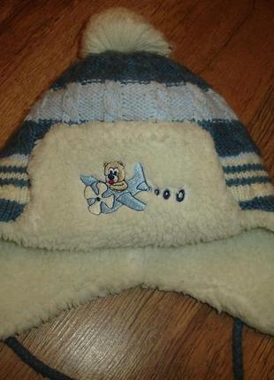 Теплая шапка с шарфом на 1-3 года