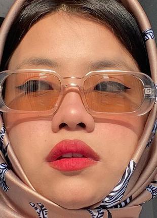 Крутые очки солнцезащитные узкие овальные тренд ретро окуляри сонцезахисні прозорі