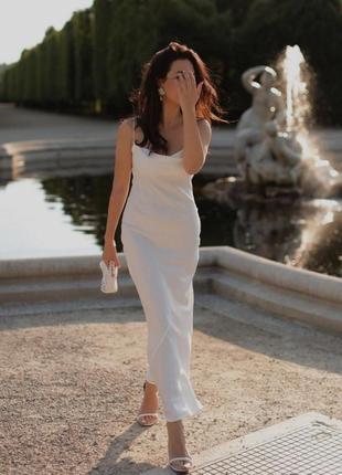Вечернее платье комбинация слип дресс атласное шелковое вечірня сукня шовкова миди міді