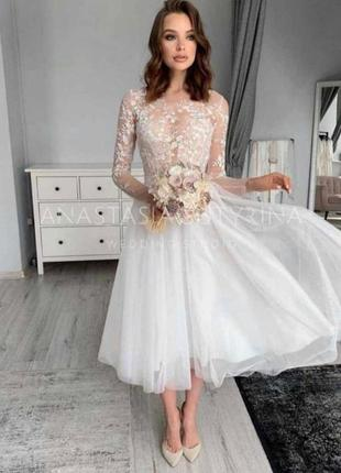 Кружевное белоснежное платье