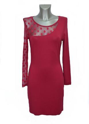 Трикотажное платье с гипюром цвета фуксии kor@kor. код п34778.
