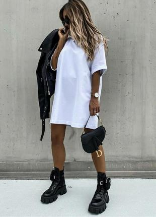 Платье-футболка однотон, платье туника, удлиненная футболка оверсайз (арт 921)