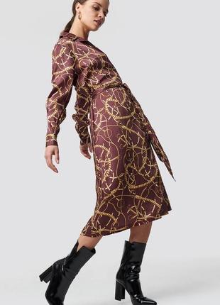 Классическое платье с поясом, принт трензеля, платочный принт, новое!