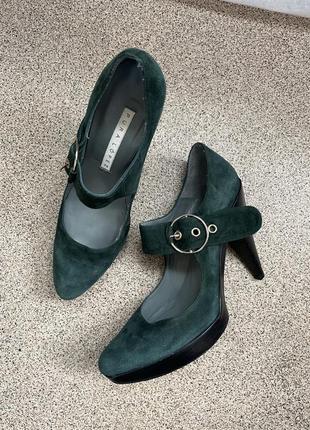 Туфли pura lopez натуральная кожа зелёные