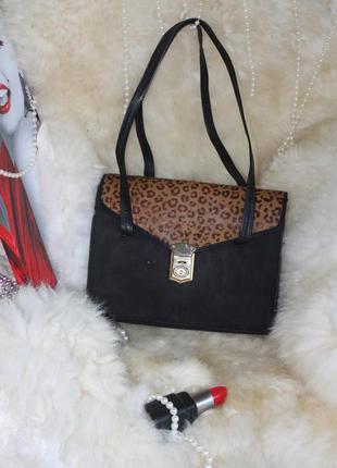Дорогущая эффектная каркасная кожаная сумка, натуральная кожа, пони, леопард