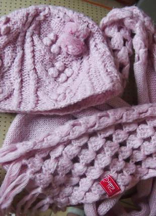 Шапка и шарф sela акрил розовые