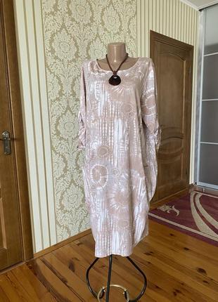 Хлопковое итальянское платье в стиле бохо с карманами