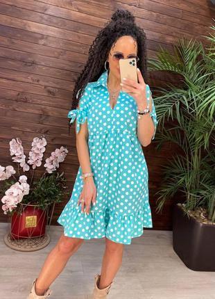 Платья мини 5 цветов, летнее платье ,нежные платья, платье в горошек, сарафан (арт 131)
