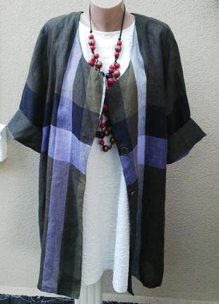 Легкий,льняной жакет,пиджак удлиненный,кардиган,блуза,лен 100%,большой размер.