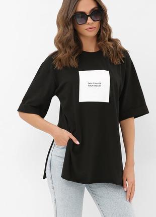 Черная котоновая женская футболка (супер качество -турция)