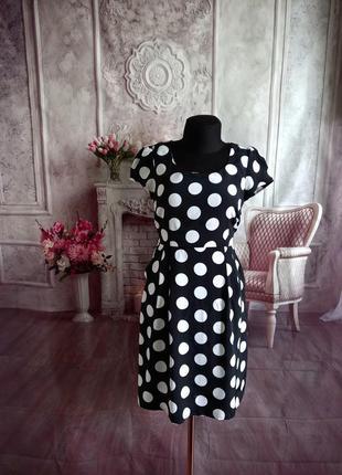 Стильное платье горох с карманами
