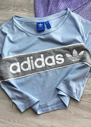 Кроп-топ adidas, голубой, биг лого