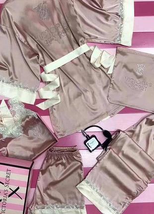 Пижама 6 предметов (халат, штаны, майка, шорты, маска для глаз, мешочек) виктория сикрет