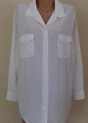 Белая блуза -рубашка большого размера marks & spencer