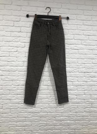 Джинсы в клеточку в клетку винтаж высокая талия/ джинси вінтаж