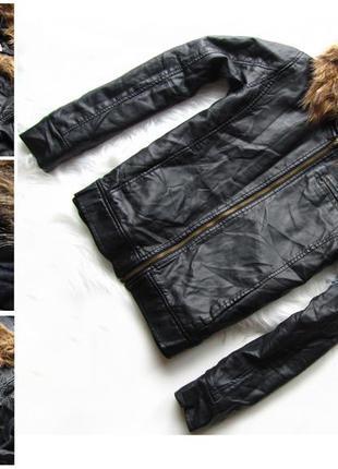 Кожаная утепленная куртка с капюшоном in extenso из кож зама для девочки .