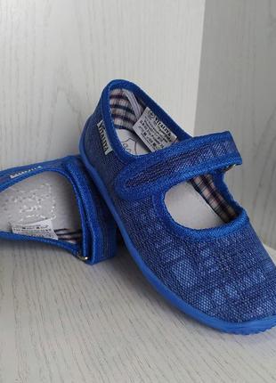 Тапочки детские синие с кожаной стелькой с супинатором для мальчика 25-27р.