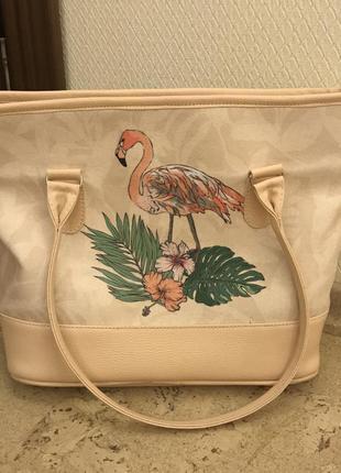 Сумка shopper (шоппер) большая,вместительная. фламинго