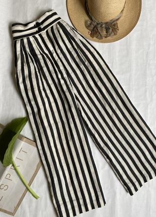 Льняные широкие брюки кюлоты zara.