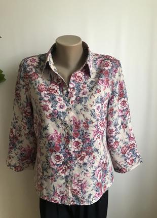 Льняная рубашка в цветочный принт m