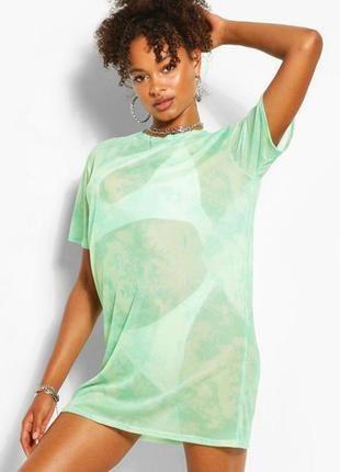 Boohoo. пляжное платье-футболка, сетка в ментоловой палитре. uk 12