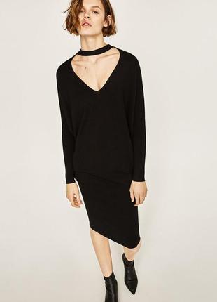 Вязаное платье - свитер с чокером zara, s