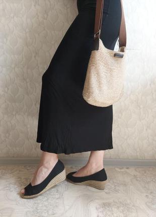 Черные босоножки, туфли от flore на плетёной танкетке канатах, открытый нос закрытая пятка