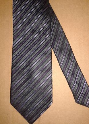 Галстук 100%шелк/ краватка в рожеву, фіолетову смужку