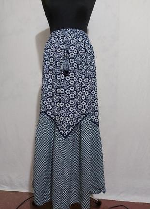Нарядная юбка макси пояс на резинке с вискозы