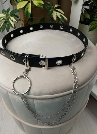 Новый стильный чёрный женский ремень с цепью