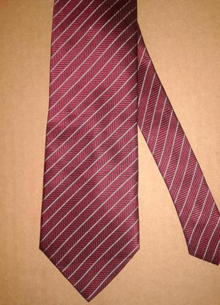 Галстук 100%шовк/ краватка темно-червона в сіру смужку