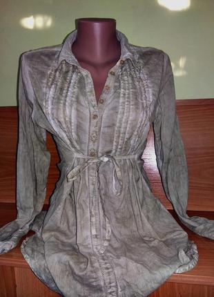 Рубашка длинный рукав -качественная вещь известной фирмы/необычная расцветка