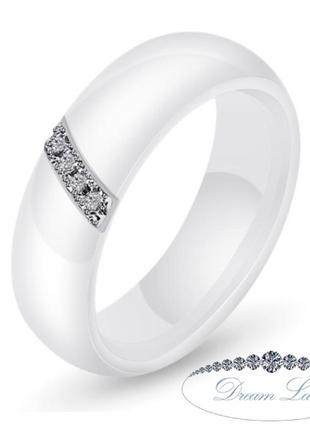Колечко из белой керамики «верность» (в нал. 17.3 18.2 19.0)1 фото