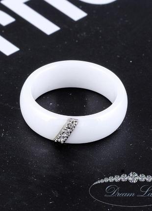 Колечко из белой керамики «верность» (в нал. 17.3 18.2 19.0)2 фото